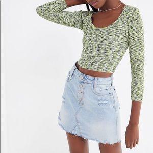 NWT Free People Denim mini Skirt Ripped